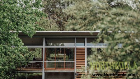 Steel exoskeleton covers timber extension to Australian bungalow