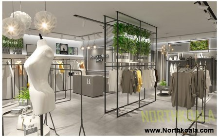 womens clothing store layout plan design of showroom 3D images